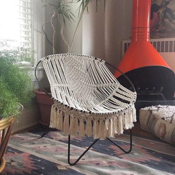 Mediados siglo moderna macrame aros macrame muebles decoración Bohemia macrame silla