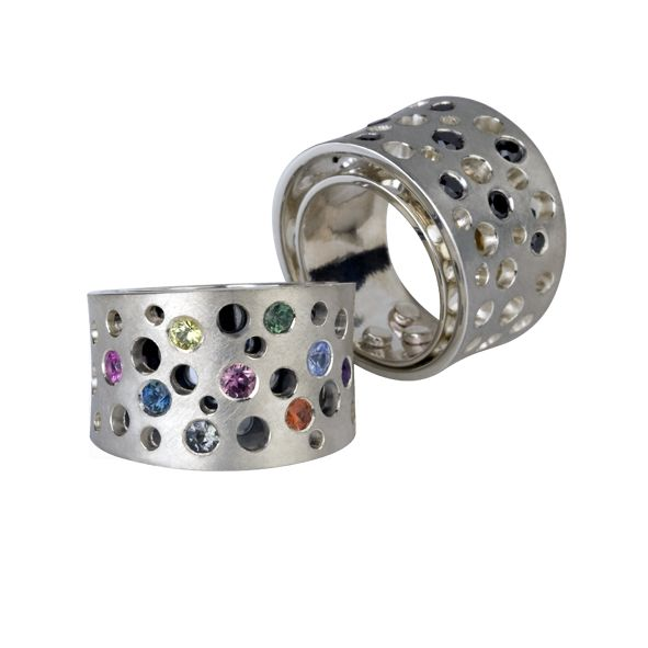 The Global Changer Ring | silver with colorful gemstones