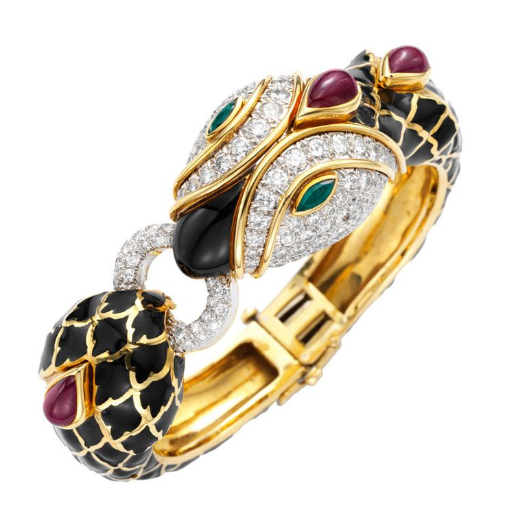 DAVID WEBB. A Multi-Gem and Enamel Snake Bracelet.