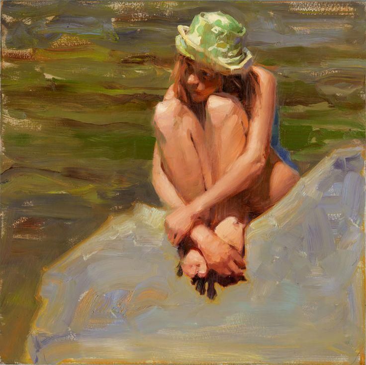 "Kim English   SHOW WORK   ""Summer along the River"" 14 x 14"" framed original oil"