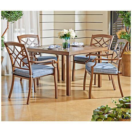 Superb Trisha Yearwood Denim Coffee Outdoor Dining Chair Set Of 4