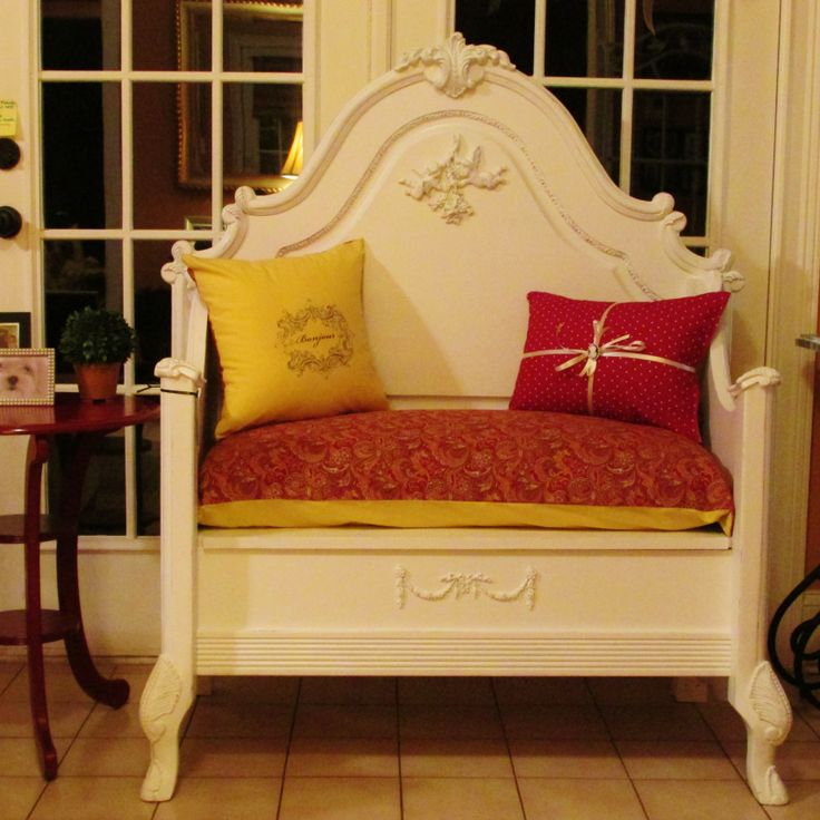 This awesome bench was made from an ornate single headboard and footboard.  A storage area was added underneath the seat, and the pillows and cushions chosen make it a very special Shabby Chic statement piece that would look good in almost any room in your home!