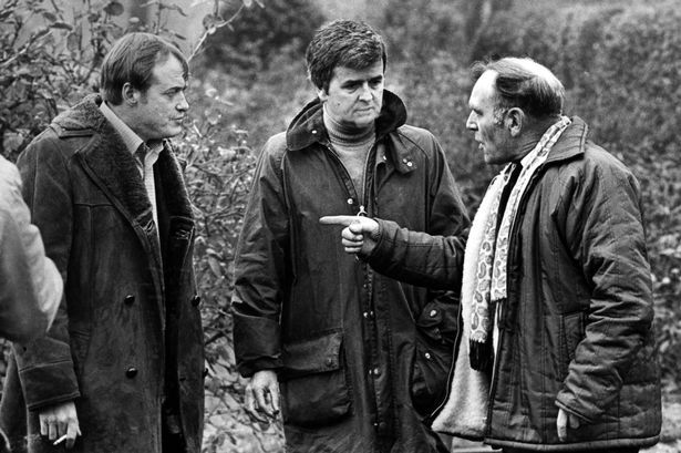 James Bolam and Rodney Bewes, on November 14, 1975, shooting a scene for Likely Lads feature film released in 1976
