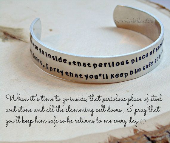 Correctional Officer Prayer Bracelet  by SouthernComfortZone Correctional Officer Prayer Bracelet - Jewelry Cuff - LEO - Wife Girlfriend Mom - No guns Just Guts - Police - Prison - Hand Stamped Custom