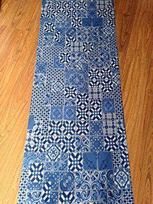 Tappeto passatoia cucina 67 x 240 corrdoio riggiola antiscivolo vittoriano piastrella maiolica ceramica blue azzurro design antiscivolo lavabile in lavatrice