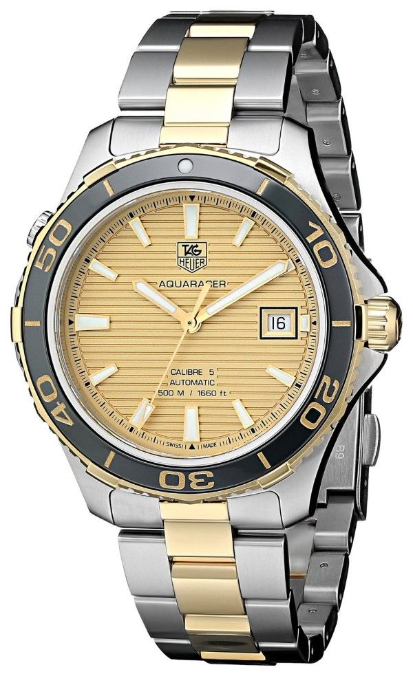 Men watches : TAG Heuer Men's WAK2121.BB0835 Analog Display Swiss Automatic Two Tone Watch