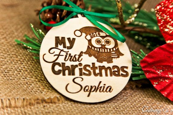 Gepersonaliseerde hout gegraveerd Merry Christmas Ornament, mijn eerste kerst…