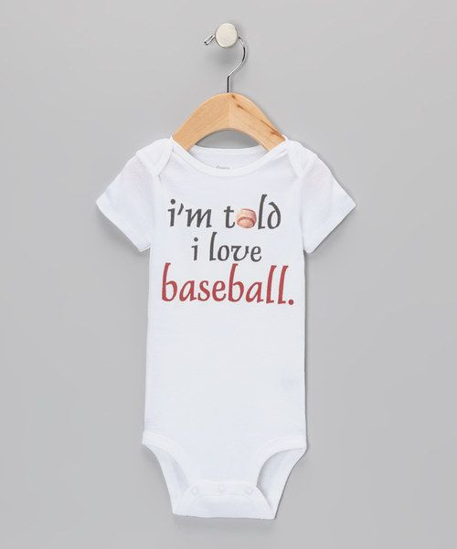 Little aces can comfortably share their baseball love with this expressive bodysuit made of soft, breathable cotton. An easy-on lap neck and snap closures make changing those hit-and-run diapers into a grand slam a no-brainer. 100% cottonMachine wash; tumble dryImported