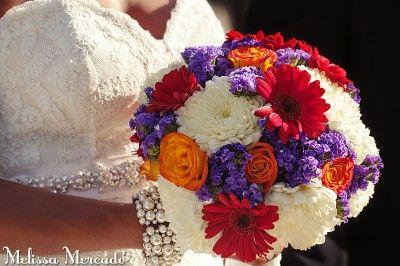 Red Gerbers, Yellow Roses, Purple Limonium, White Chrysanthemum, Bridal Bouquet, Wedding at Secrets Silversands, Puerto Morelos, Riviera Maya, Mexico © melissa-mercado.com