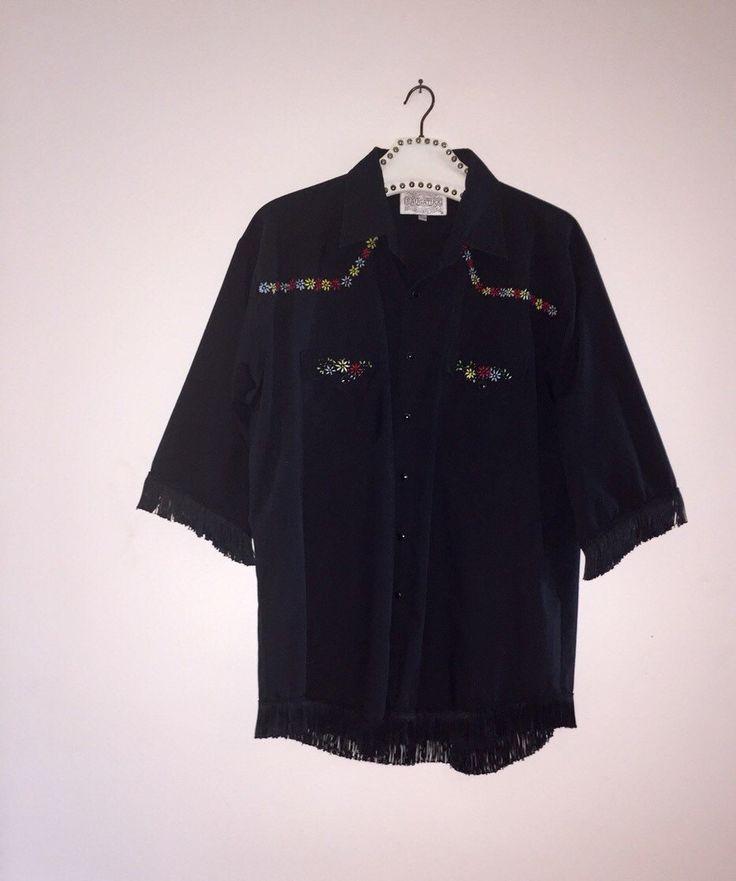 Black Fringe Unusual Mens Shirt Western Vintage by Vintagedynomite on Etsy