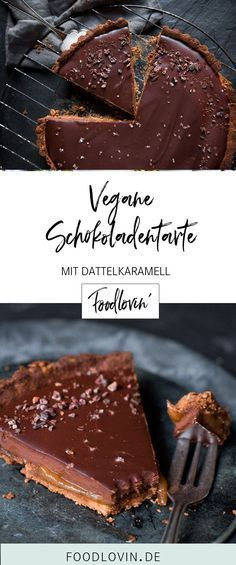 Vegane Schokoladentarte mit Dattelsalzkaramell.   – vegan