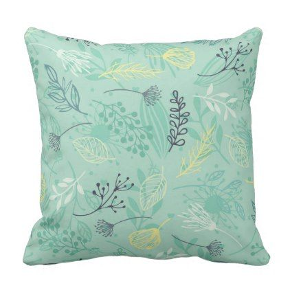 Ditsy Forest Herbs Blue Background | Throw Pillow - blue gifts style giftidea diy cyo
