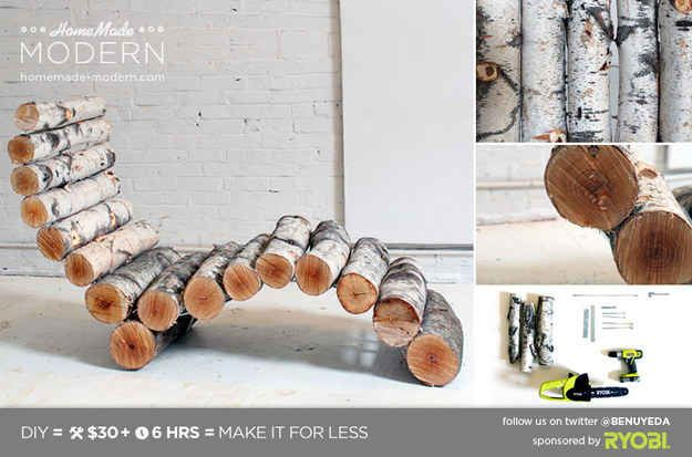 This Organic Birch Lounger | 29 Insanely Cool Backyard Furniture DIYs