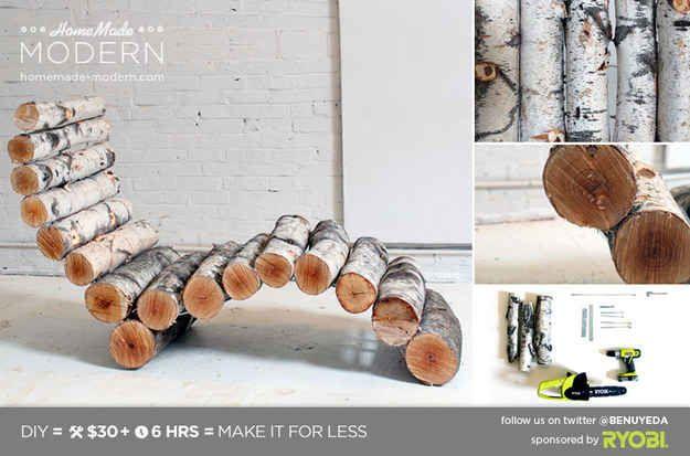 This Organic Birch Lounger   29 Insanely Cool Backyard Furniture DIYs