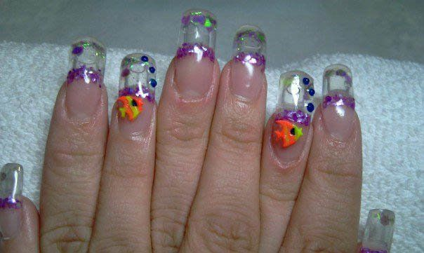 water/aquarium/snow globe nails