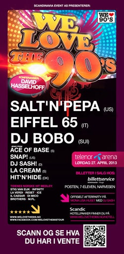 Oslo April 27, 2013 tour poster from promoter. A 90s show. #jennyberggren #aceofbase #welovethe90s #oslo