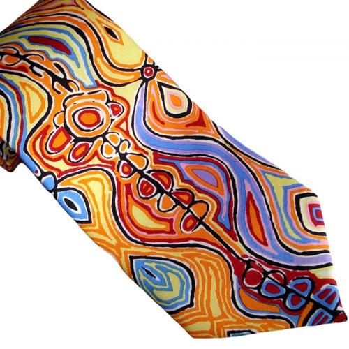 This stunning 100% silk tie features the artwork of Judy Napangardi Watson, an indigenous artist born at Yarungkanji, Mt Doreen Station. Judy has been exhibiting artwork since 1990 throughout Australia and the world. Presented in a lovely gift box.