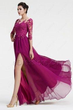 Magenta Bridesmaid Dresses Long Sleeves Modest Formal Dress Plus Size
