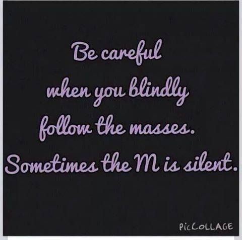 """be careful when you blindly follow the masses ... sometimes the m is silent"""