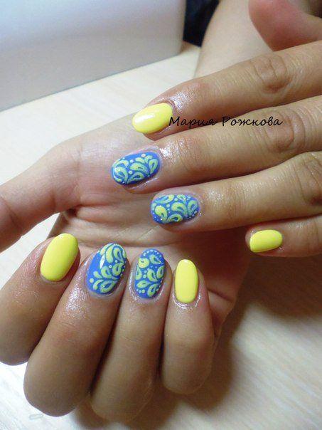 Beautiful nails 2016, Blue and yellow nails, Bright summer nails, Fashion nails 2016, Festive nails, Nail designs, Nails with curls, Oval nails