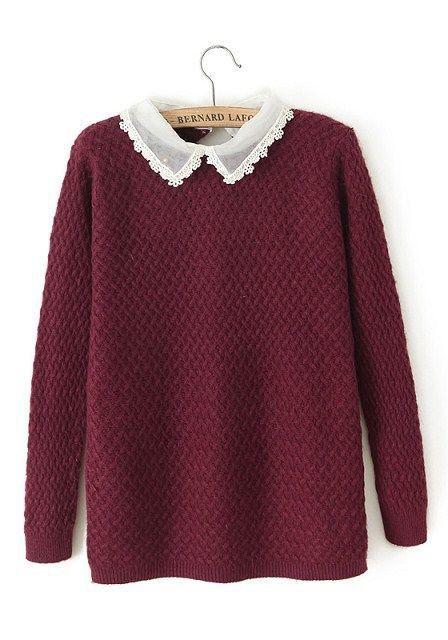 Champagne Plain Cascading Ruffle Turndown Collar Cotton Blend Sweater