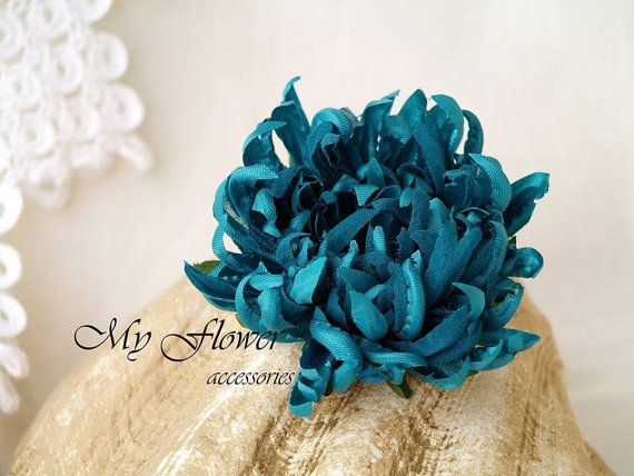 Blue Turquoise Flower pin Sea Blue Flower by MyFlowerAccessories