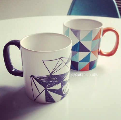 geometric cups. I put the mugs in my books category because you