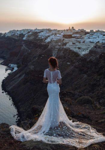 Santorini Prewedding photoshoot with Camille Co - Gown Vera Wang