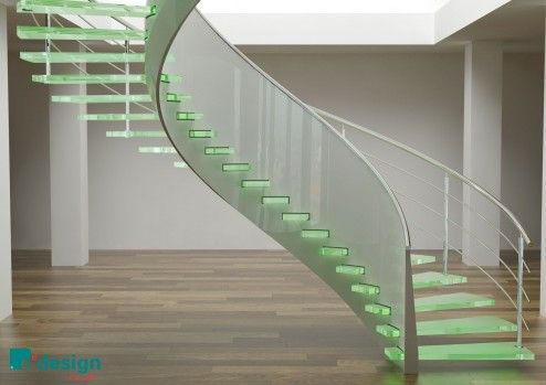 Interior Design, Beautiful Designer Curve Glass Stairs With Green Sturdy Glass Stepladder And White Satin Handrail Also Glass Frosted Railing In Minimalist Decor On Laminate Wood Floor Interior Design ~ Attractive Stair Designs Interior with Unique Architecture Design