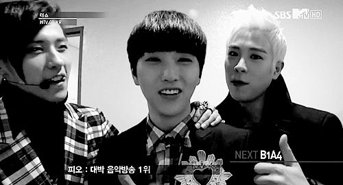 "B1A4 Sandeul, CNU, Block B P.O // sandeul's like ""Oh hey P.O-"