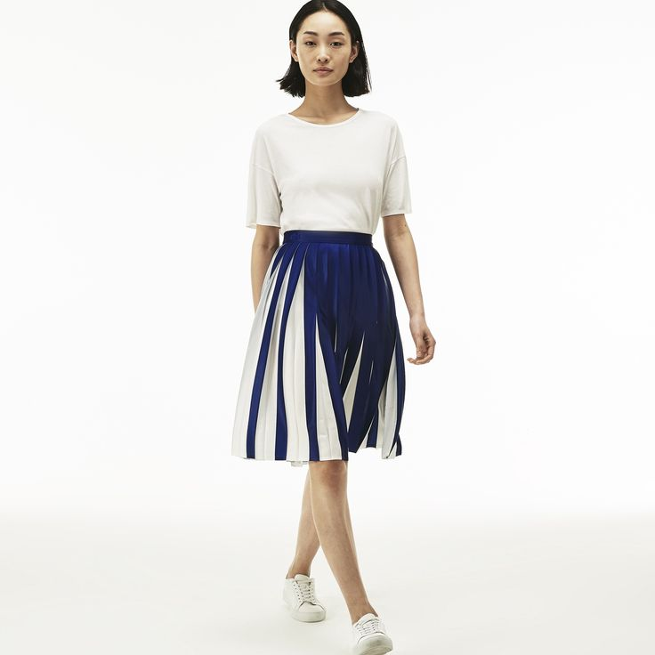 LACOSTE Women's Pleated Bicolor Jersey Mid-Length Skirt - METHYLENE/FLOUR. #lacoste #cloth #