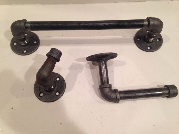Complete set Industrial black iron pipe with toilet paper holder  rack  and towel holder  Complete Bathroom. 1000  ideas about Complete Bathroom Sets on Pinterest   Bathroom