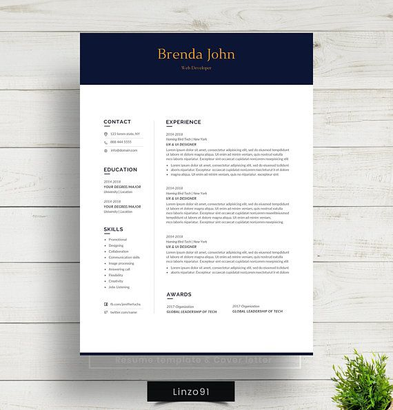 Minimal And Professional Resume Cv Template For Word Two Etsy Resume Cv Resume Template Professional Jobs For Teachers
