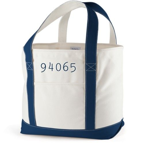 Zip Code Canvas Tote Bag, Navy, Large tote, White
