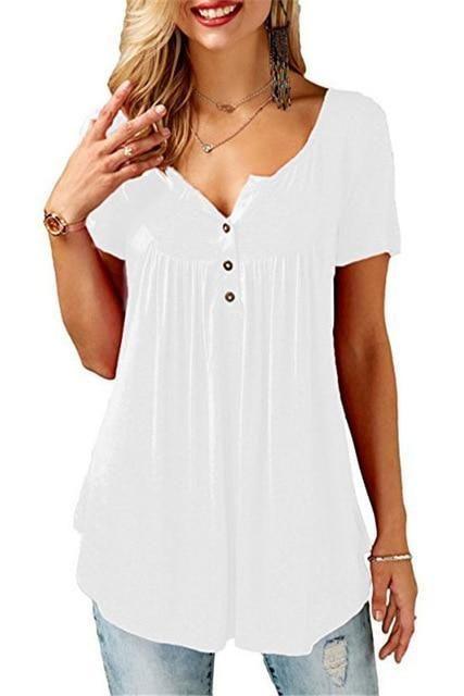 bd341615e7e Plus Size 4XL 5XL Summer Women Blouse Shirts Casual Short Sleeve  V-neckrricdress