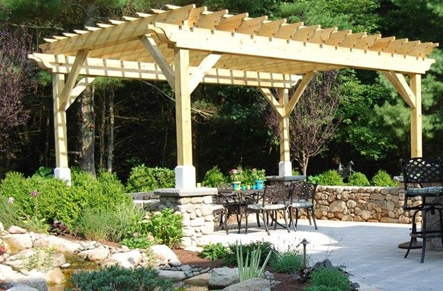 wood shade structure pergola and patio cover the gardeners kingston ma beautiful garden ideas. Black Bedroom Furniture Sets. Home Design Ideas