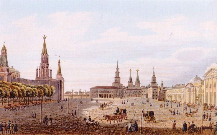 Красная площадь Огюст-Жан-Батист-Антуан Кадоль, 1834.  Ров был засыпан в 1813 году. На его месте высадили два ряда деревьев.