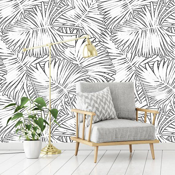 Black And White Palm Outline Wallpaper Removable Wallpaper Self Adhesive Or Traditional Materi Removable Wallpaper Pink Wall Decor Apartment Decorating Hacks