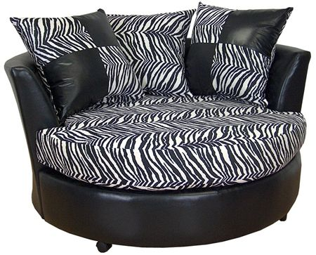 Zebra Print Chaise Lounge Circle...looooove this, would look awesome in my future office someday too :)