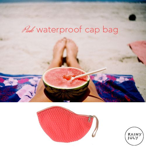 pink waterproof cap bag #summer #vintage #swimmingcap