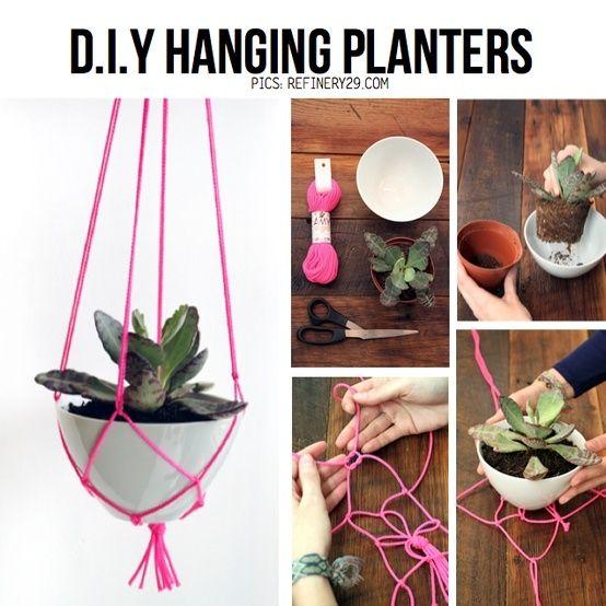 diy hanging planter   DIY hanging planters by Kim Paige