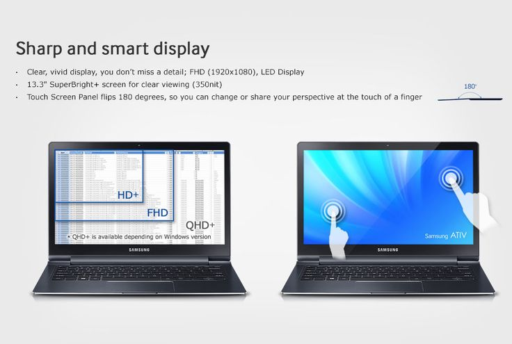 Samsung ATIV QuadHD laptop 11 hours battery life 13 mm thick touch screen
