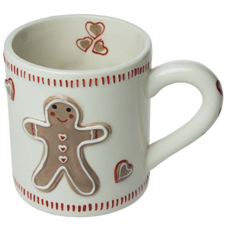 Gisela Graham Christmas Gingerbread Man Red Cream Hearts Coffee Mug Cup