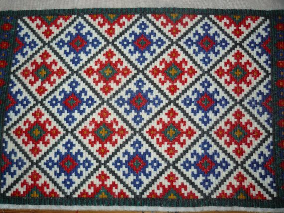 Vintage textile embroidery Scandinavian Weaving Wool Crewel Decorated Wall Hanging /Table Runner / Rug, red,blue,gray, white on Etsy, $16.23 CAD