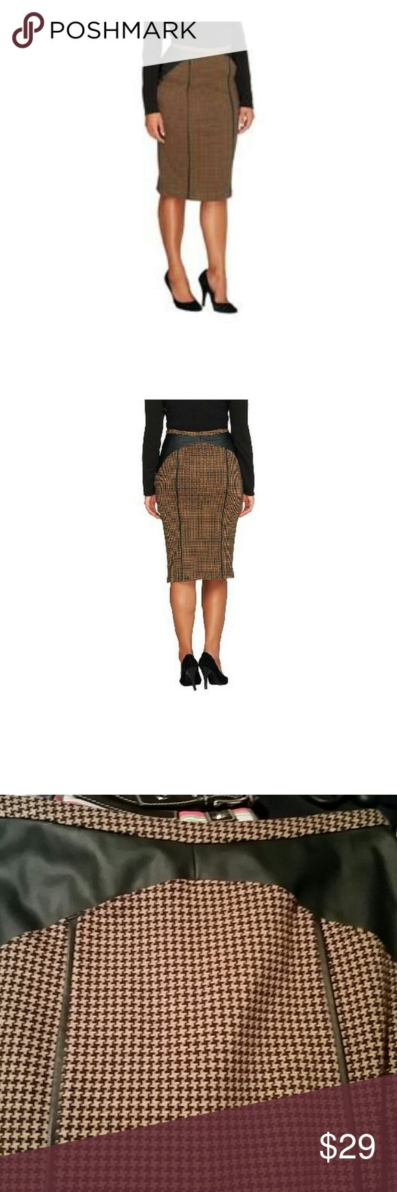 EDGE by Jen Rade size 6 Excellent condition skirt tan and black size 6 body is 90% cotton 9% polyester 1% spandex inserted panel coating is 100% polyurethane backing is 100% polyester What a stunning skirt EDGE Skirts