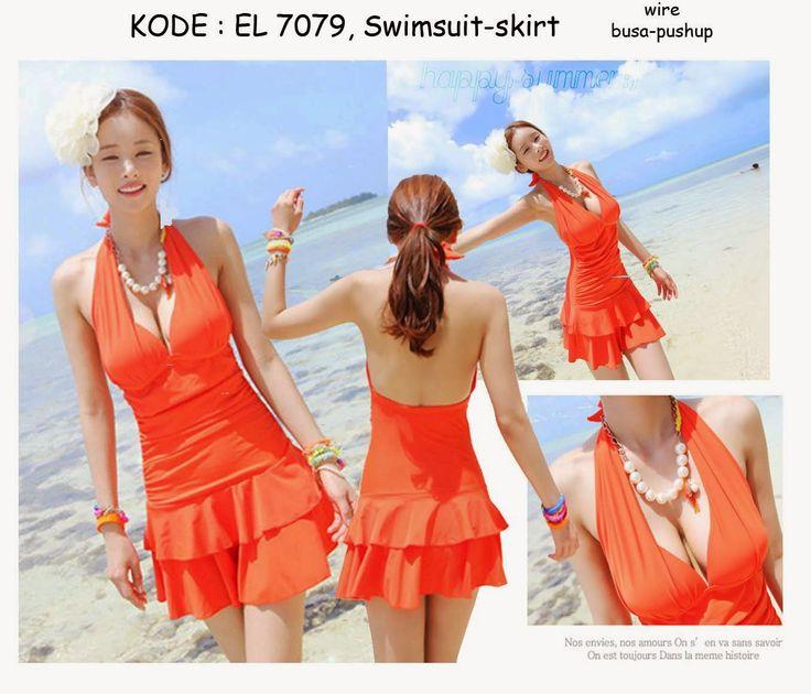 7079-240rb Jual baju renang swimsuit orange pushup payudara