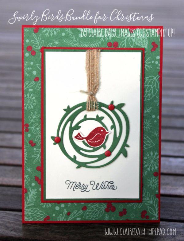Swirly Bird Christmas Card