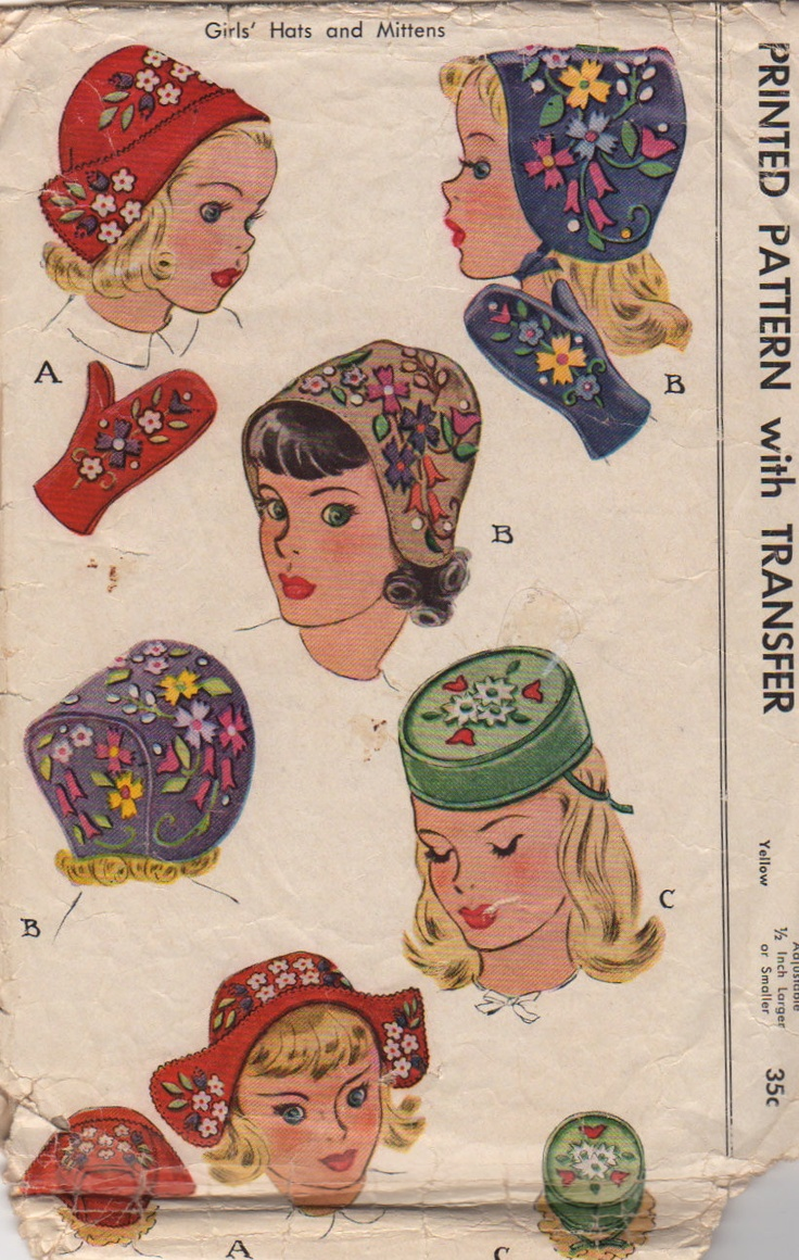 McCall 1214 1940s Girls Hats and Mittens Pattern Childs Vintage Sewing Pattern Head Size 21.