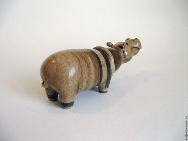 Купить Полосатый бегемот - бегемот, бегемотик, в полоску, полосатый, скульптурная миниатюра, фигурка, фигурки животных