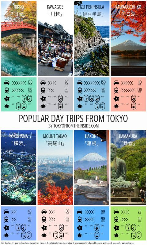 "Check out this ""cheat sheet"" for determining where to go for a day trip from Tokyo! Click to enlarge the image. Photo credits: Kawagoe: http://www.goldenjipangu.com/ …"